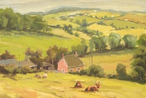 Pink cottage Devon, 40 x 30 cm., €375,-